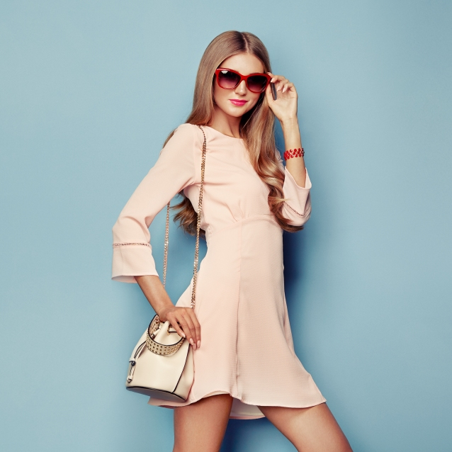 Portrait Of Fashion Young Woman In Pink Dress. Lady In Stylish C