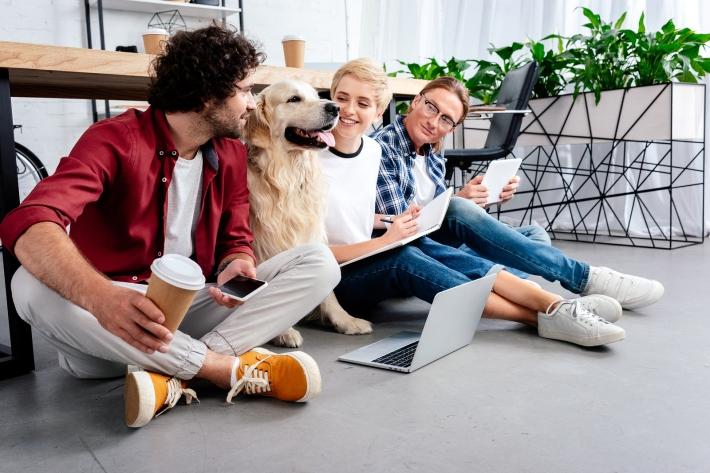 Smiling Young Business Colleagues Looking At Dog While Working