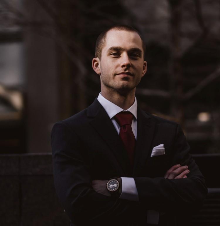 A confident man in a business suit